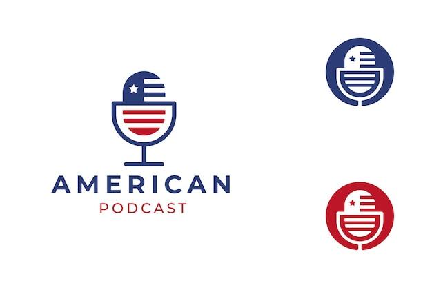파란색과 빨간색 미국 국기 팟 캐스트 로고