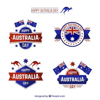 オーストラリアの日の青と赤のバッジ