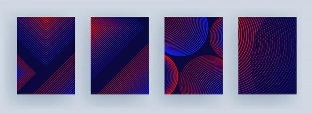 紫の異なるスタイルの青と赤の色の縞模様。