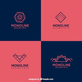 Коллекция логотипов blue and red monoline