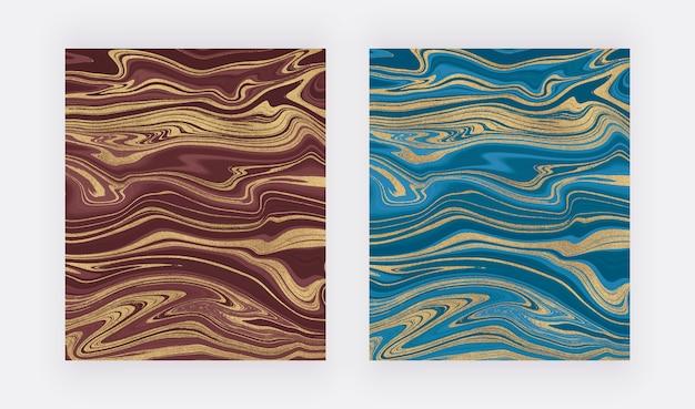 青と赤の金色のキラキラインク塗装パターン。