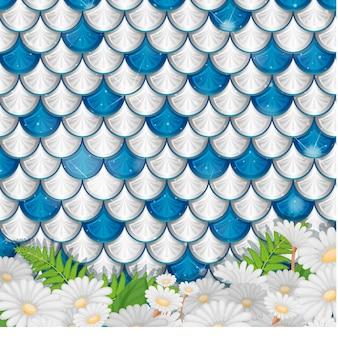 많은 꽃이 있는 파란색과 은색 인어 비늘 패턴
