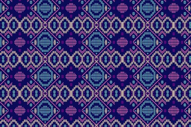 青と紫のソンケットのシームレスなパターンテンプレート