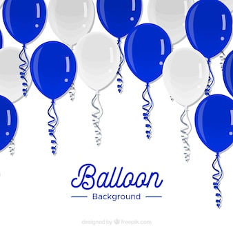 Blue and white balloons background to celebrate