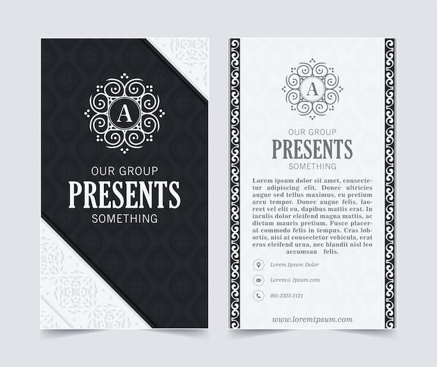 Сине-белая визитная карточка и шаблон логотипа старинный орнамент. ретро элегантный процветает орнаментальная рамка и узор фона.