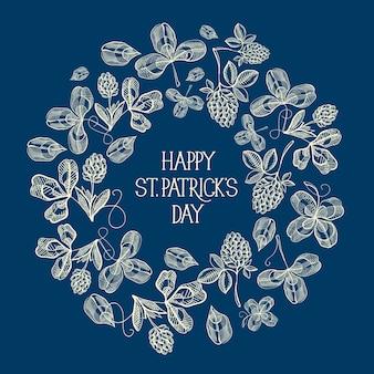 Stについてのテキストの周りに多くの伝統的な要素を持つ青と白の円フレームスケッチグリーティングカード。パトリックの日
