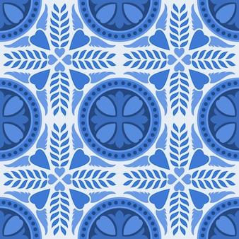 青と白のダマスク織のシームレスな花柄の背景。