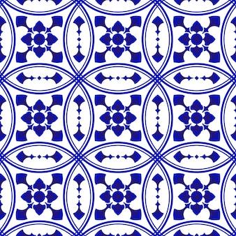 파란색과 흰색 장식 타일 패턴 프리미엄 벡터