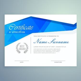 Стильный современный дизайн шаблона сертификата с синими абстрактными формами