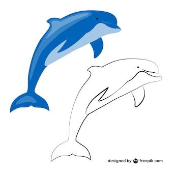 파란색과 흰색 돌고래