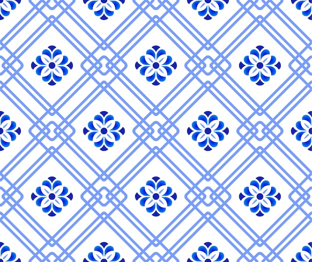 Синие и белые цветочные бесшовные