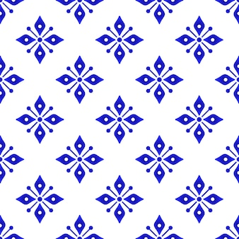 파란색과 흰색 꽃무늬 벽지