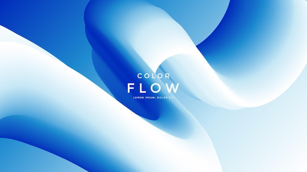 Синий и белый фон жидкой волны двухцветные геометрические композиции с градиентной формой 3d потока