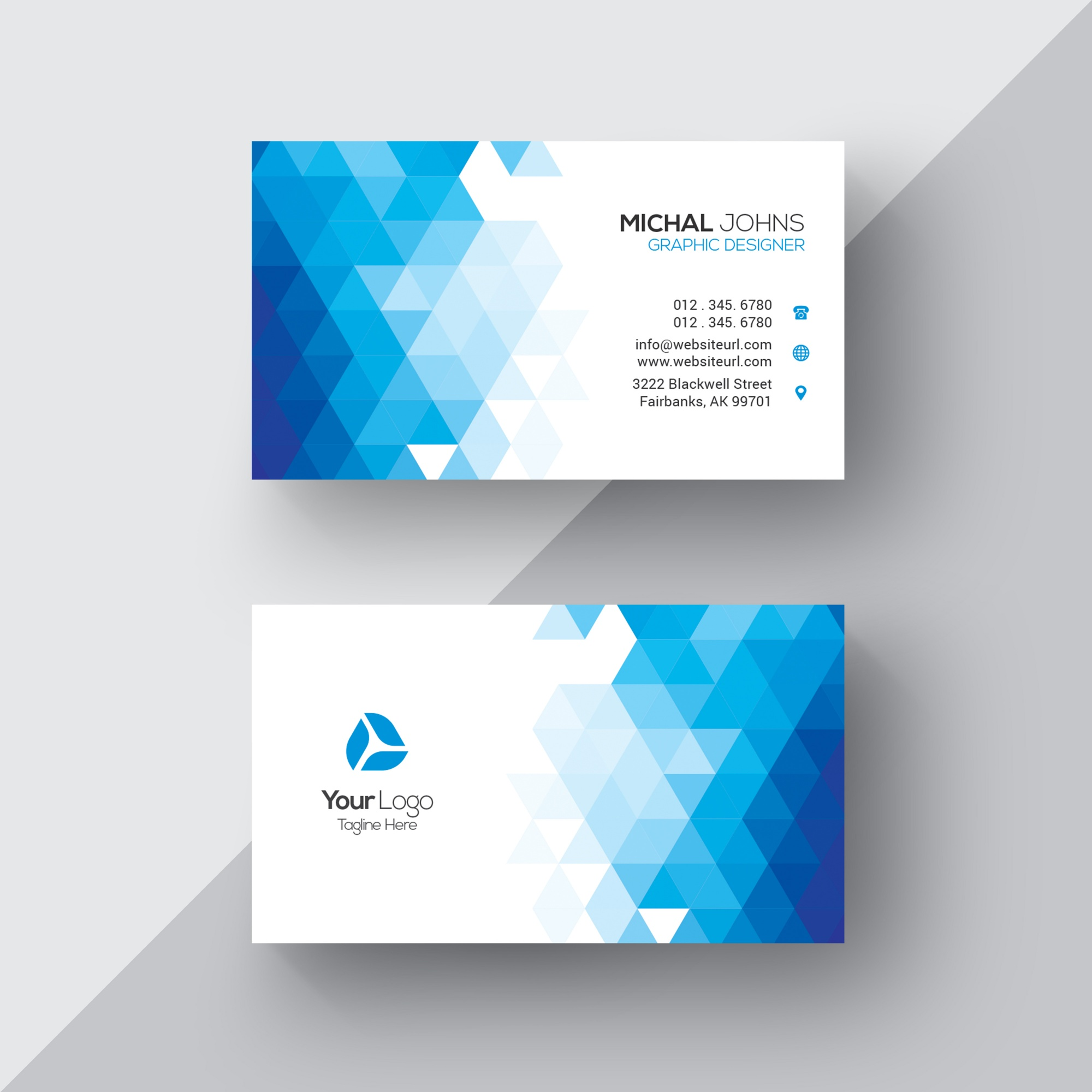 Blue and white geometric business card