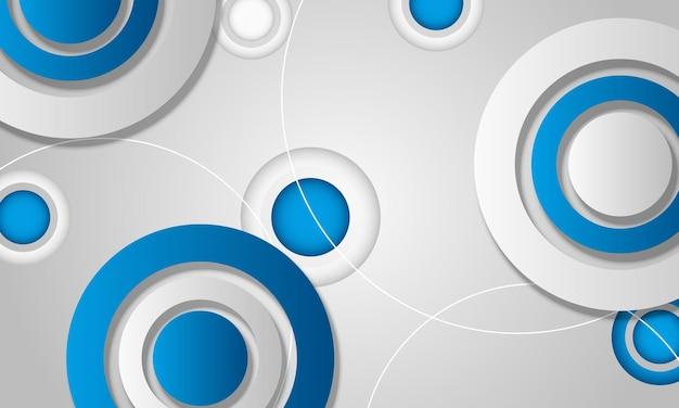 青と白のグラデーションの幾何学的な円の背景ベクトル図