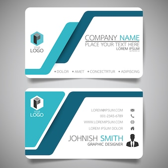 Blue and white layout business card template.