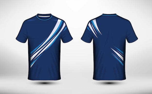 파란색과 흰색 레이아웃 전자 스포츠 티셔츠 디자인