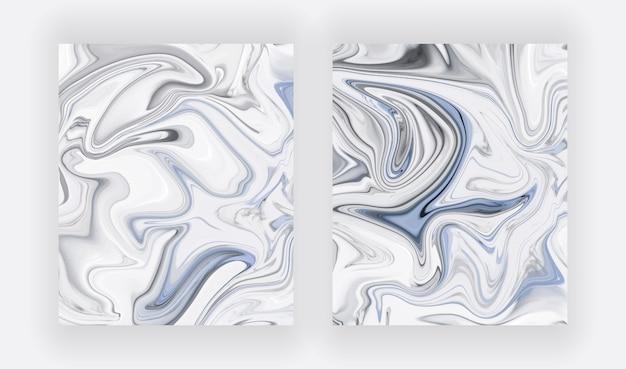 파란색과 흰색 액체 잉크 그림 추상 세트