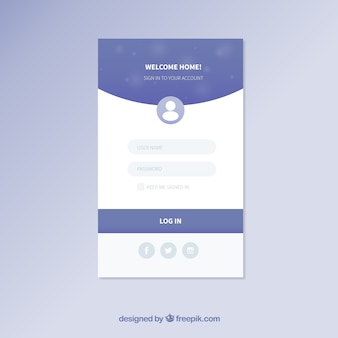 Blue and white login form template