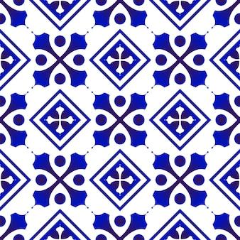 파란색과 흰색 패턴 원활한