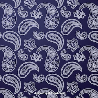 Blue and white pattern with ornamental shapes