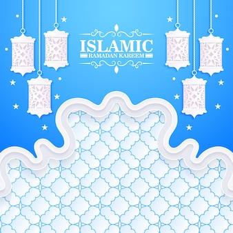 Сине-белый баннер рамадан карим