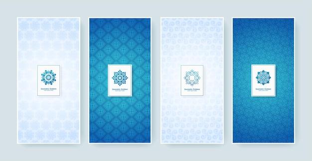 Сине-белая ретро-этикетка с каллиграфическим логотипом. коллекция старинных монограмм.