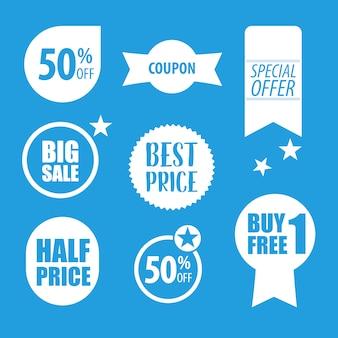 青と白の販売ラベルコレクション
