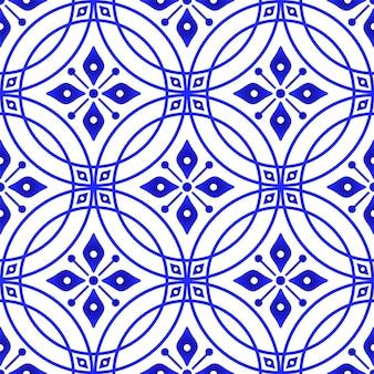 파란색과 흰색 원활한 패턴 벡터