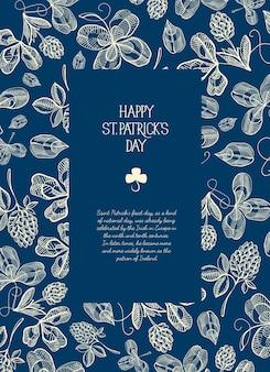 聖についてのテキストの周りに多くの伝統的な要素を持つ青と白の正方形のフレームスケッチ構成グリーティングカード。パトリックの日のベクトル図