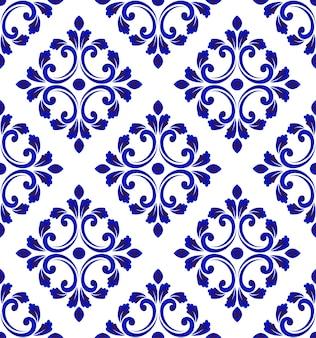 青と白のタイルパターンシームレス