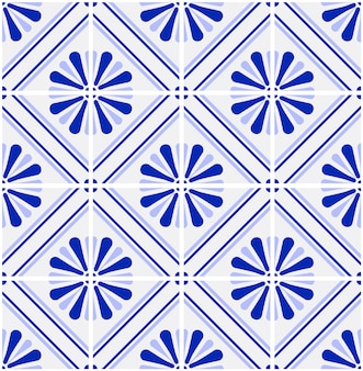 青と白のタイルパターンベクトル