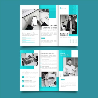 青と白の三つ折りパンフレット印刷テンプレート