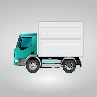 Синий и белый грузовик