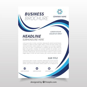 青と白の波状のビジネスチョイステンプレート