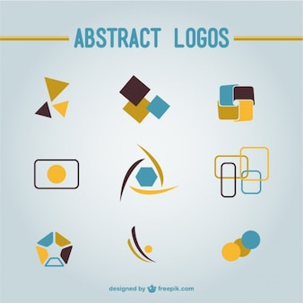 Blue and yellow abstract logos