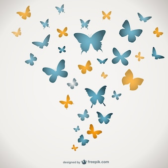 파란색과 노란색 나비