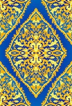 青と黄色の花柄。オリエンタル細線細工の飾り。テキスタイル、ショール、カーペットのカラフルなテンプレート。