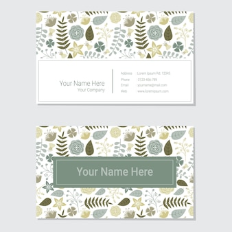 Blue and yellow flower business card design