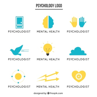 Blue and yellow psychology logos in flat design
