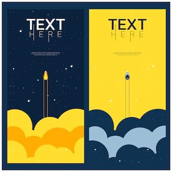 파란색과 노란색 공간이 우주를 탐험합니다. 표지 템플릿