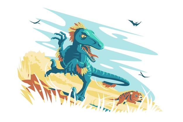 정글에서 블루 화가 디노 랩터 벡터 일러스트 레이 션 야생 공룡 캐릭터 따라 동물 평면 스타일 야생 동물 고생물학 및 절연 화석 동물 개념