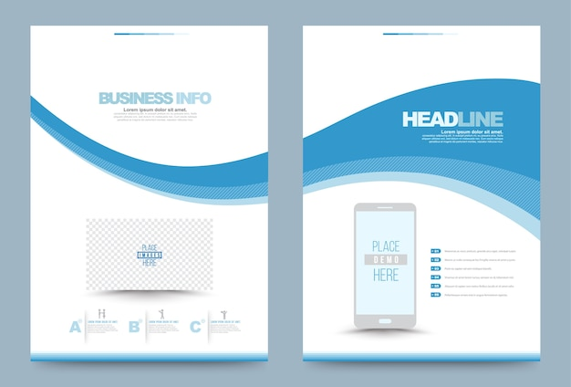 Blue annual report brochure flyer design template