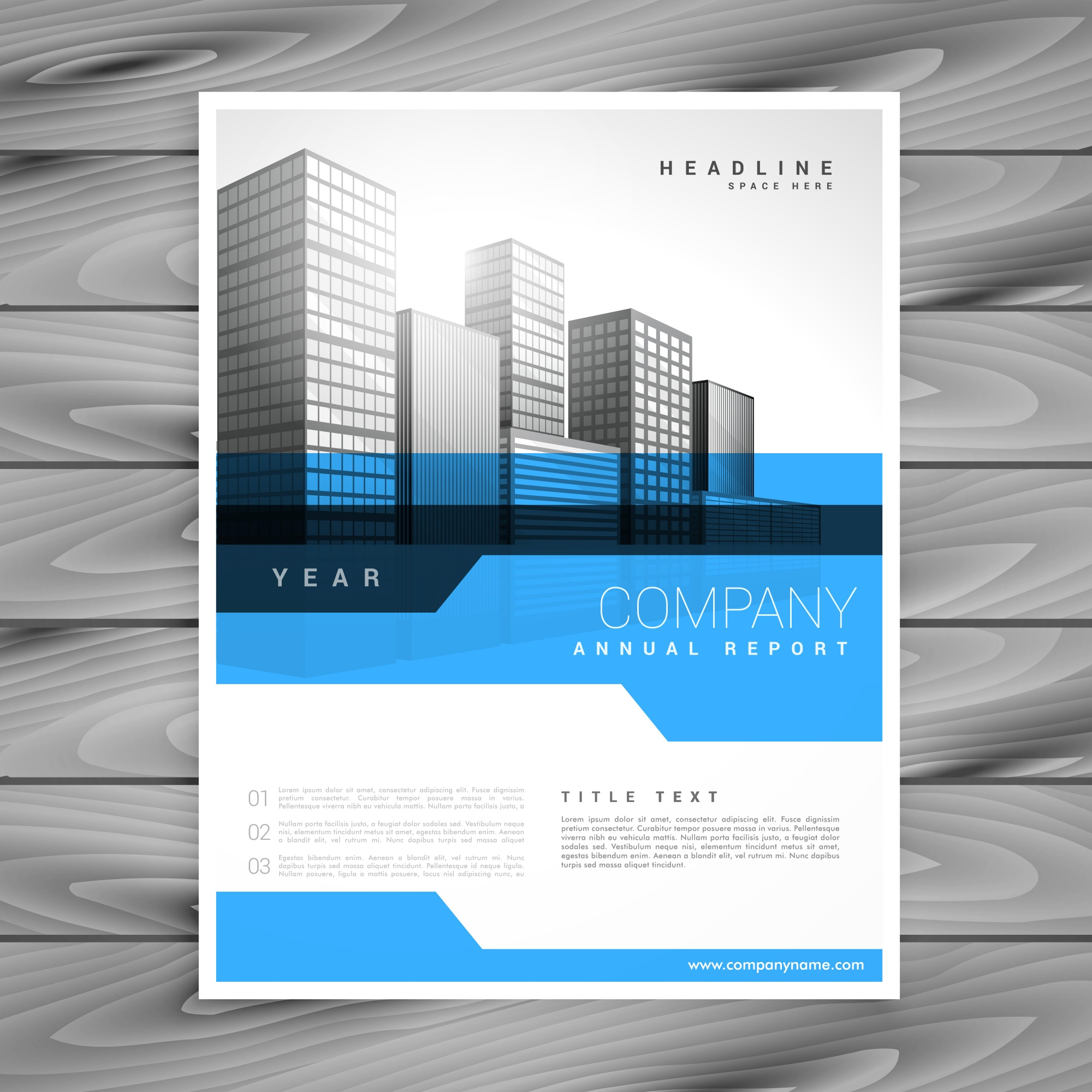 Blue annual report brochure flyer poster design template