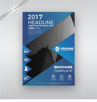 Blue annual report cover brochure template design