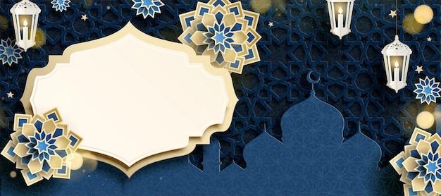 Blue arabesque flower and mosque banner in paper art style