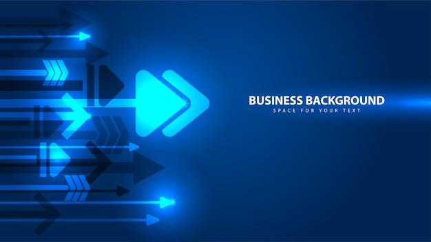 파란색 화살표 및 비즈니스 기술 추상 배경
