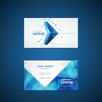 Blue arrow business card template. company name and design, corporate and symbol. vector illustration