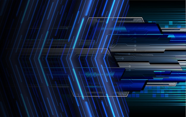 Blue arrow cyber circuit future technology concept background