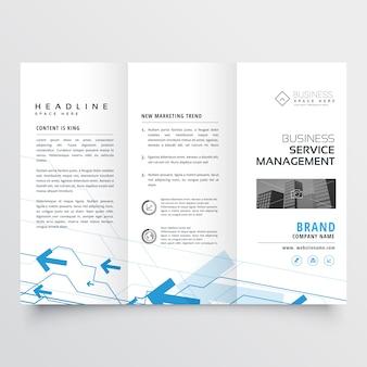 Blue arrow design on trifold business brochure